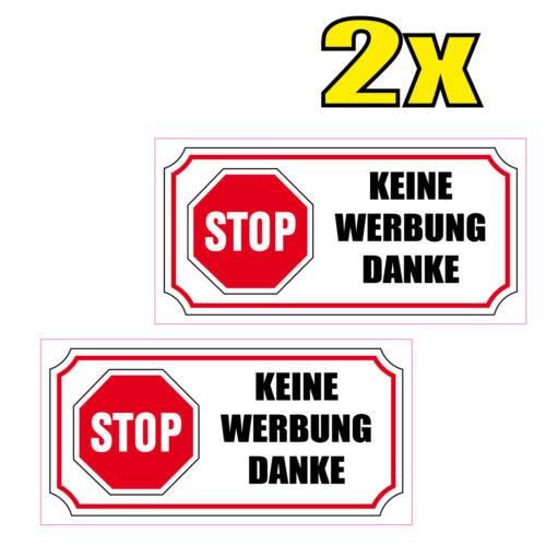 2x Sticker Autocollant KEINE WERBUNG DANKE MAILBOX STOP PUB