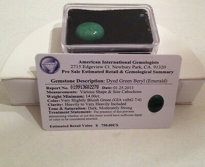 Certified $750.00 Dyed Emerald Green Beryl Gemstone - 14.00ct