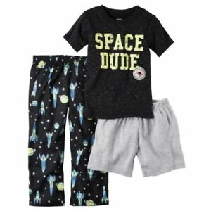 407d6f0f4 NWT Carter s 2T 3T Space Dude Rocket 3 Piece Pajama Set Blue Yellow ...