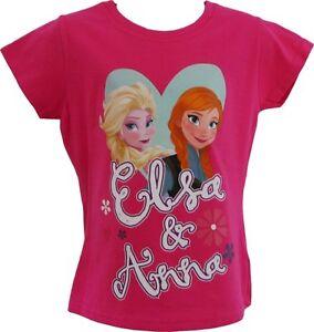 Frozen-Anna-amp-Elsa-Short-Sleeve-Pink-Cerise-T-shirt-3-4-5-6-7-8-9-10-years-Girls