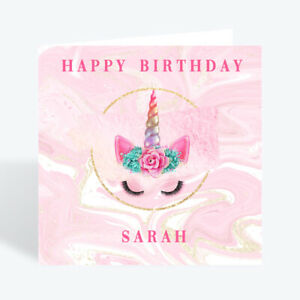 PERSONALISED BIRTHDAY CARD DAUGHTER NIECE GRANDAUGHTER GIRL CHILD UNICORN