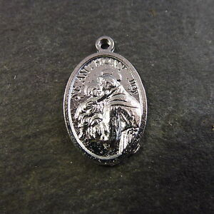 1-x-Bright-finish-St-Anthony-medal-silver-colour-2cm-Christian-pendant