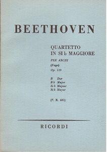 Beethoven-Quartett-Fuer-Boegen-op-133-IN-Si-Bemolle-Musiknoten-Pocket-Ricordi