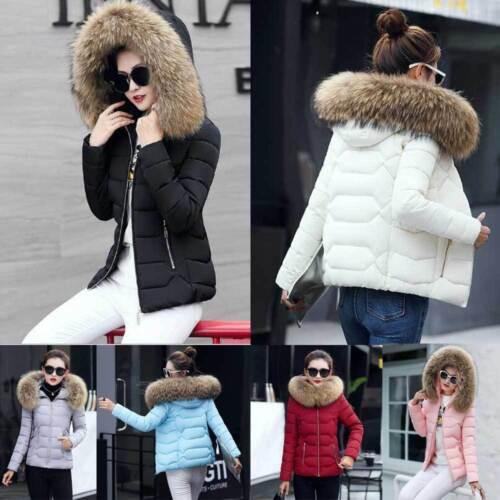 Women Winter Down Cotton Warm Jacket Fur Collar Hooded Coat Parka Ladies Outwear