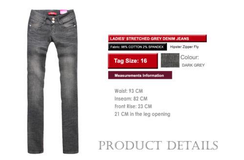 MISS FOX Women/'s Dora Slim-Fit Grey Denim Jeans SIZE 8-18