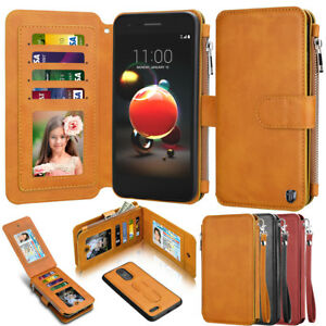 separation shoes fd1f2 e54ae Details about For LG Aristo 2/Tribute Dynasty/Fortune 2/Rebel 3 LTE Leather  Flip Wallet Case