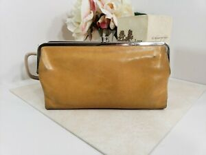 Hobo-International-Tan-Brown-Leather-Lauren-Clutch-Wallet-Double-Kiss-Lock