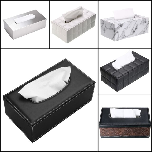 Leather Home Hotel Auto Car Tissue Box Napkin Pumping Paper Cover Case Holder