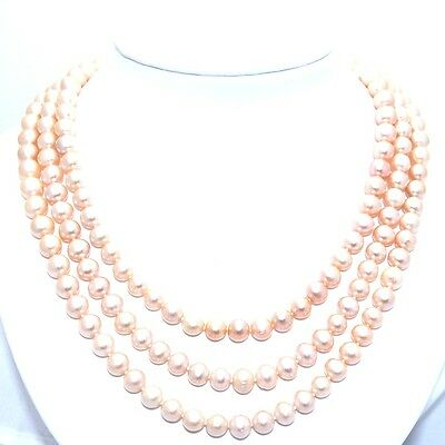 """UNIQUE 51"""" MULTI WAY NATURAL PEACH PINK ROUND CULTURED 8.5mm PEARL LONG NECKLACE"""