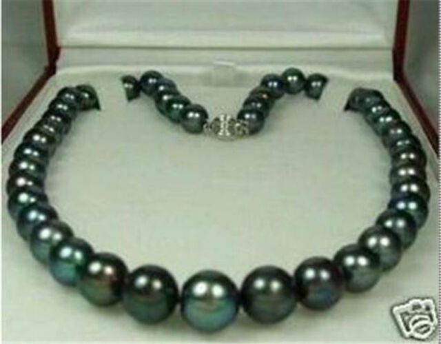 """Charming! 8-9mm Tahitian Black Natural Pearl Necklace 18"""" AA"""