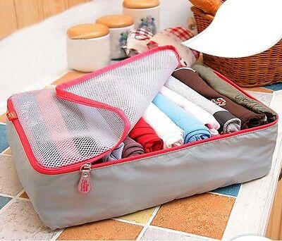 3PCS/Set Portable Clothes Storage Bag Packing Cube Travel Luggage Organizer Grey