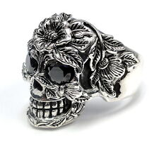 Men's Silver Floral Skull  Ring With Black Diamonds 2.20 ct.