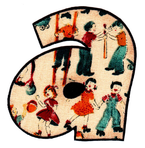 "2.5/"" Alphabet vintage abc letter a name monogram fabric applique iron on"