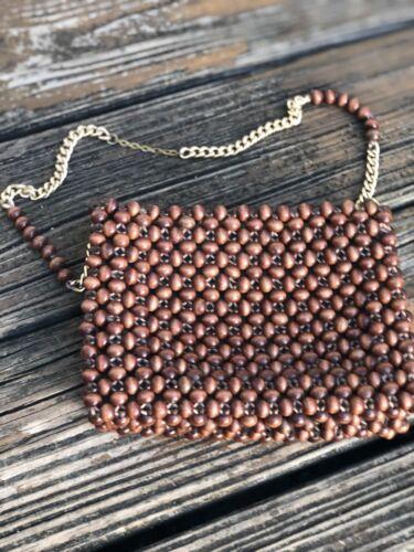 Vintage Wood Beaded Purse Handbag Brown Woven Bag