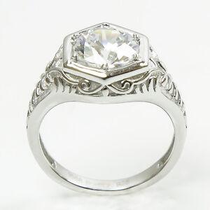 antique deco sterling silver replica engagement