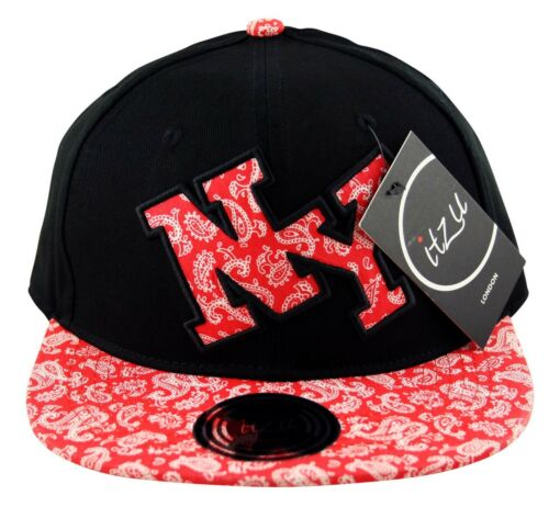 Itzu Bandana Paisley New York NY Applique SNAPBACK Cap Hat Snap Back Black Red