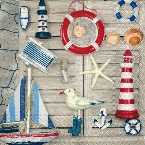 4 Servietten ~ Souvenirs von der Küste Leuchtturm Schiff Meer Anker
