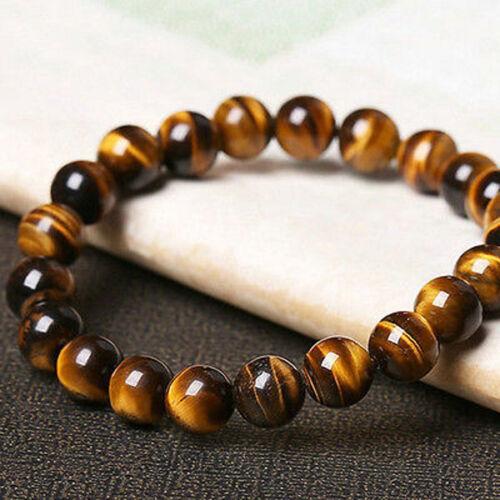 Fashion 8 mm NATURAL Tigers eye Tigereye Perles Rondes Extensible Bracelet Jonc