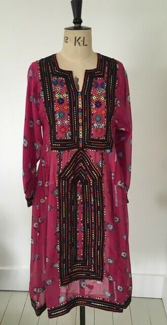 Boho small embroiderot Rosa dress. Material synthetic. Unworn. Bought from The C