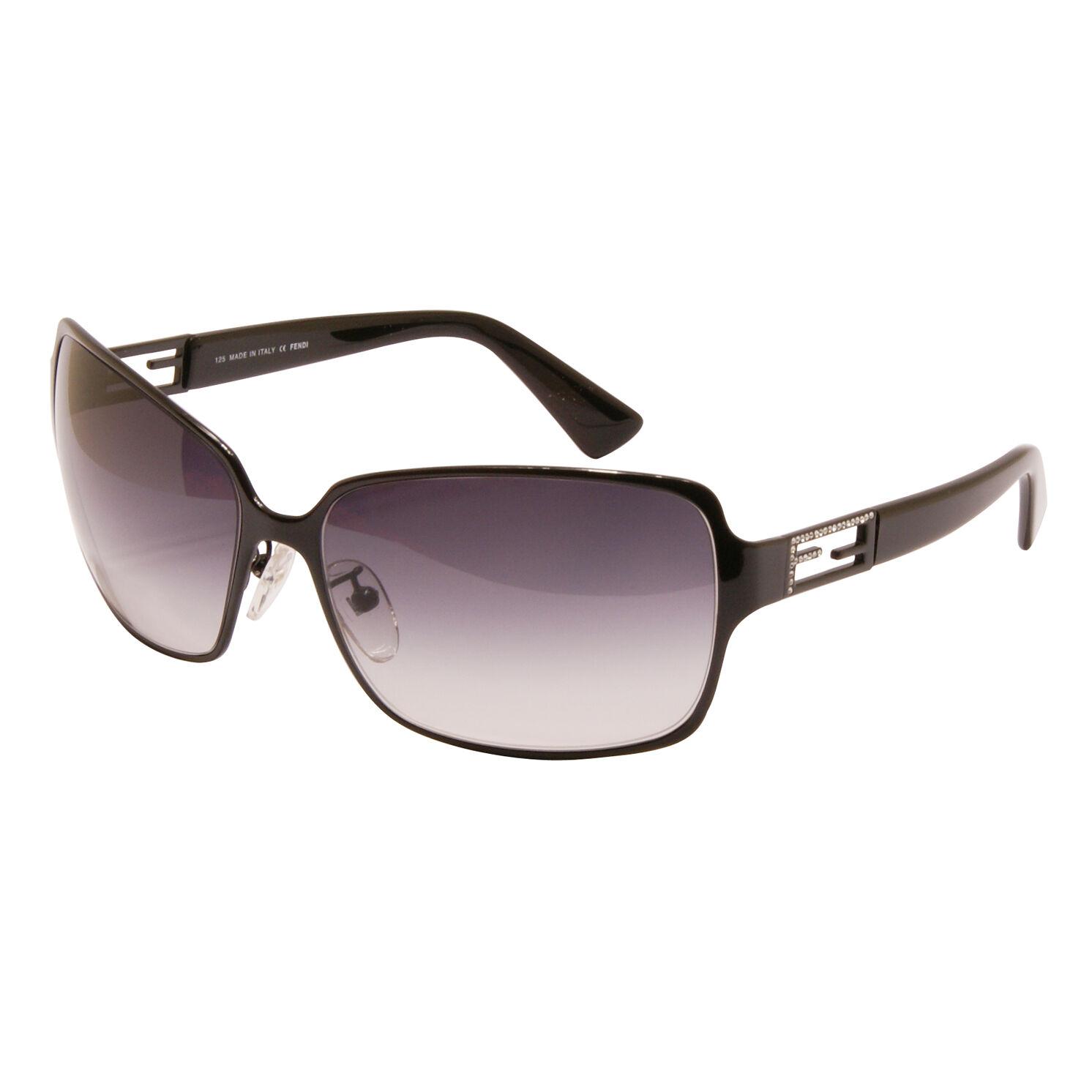 Fendi - Shiny Black Classic Style Sunglasses with Rhinestone Logo and Case
