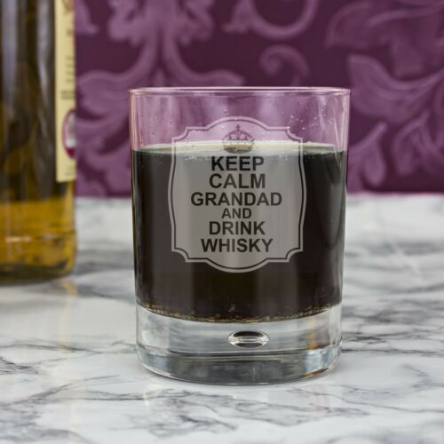 Personalised KEEP CALM Engraved Glass Tumbler Hi Ball Shot Birthday Gift