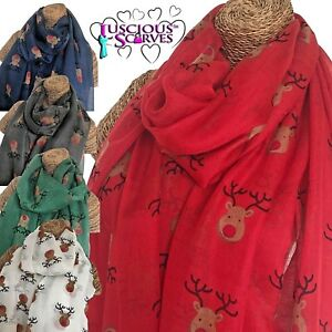 Christmas Scarf.Details About Red Nose Reindeer Rudolph Christmas Scarf Xmas Design Superb Soft Quality
