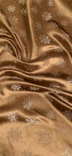 Gold White Snowflakes Chinese Brocade Fabric 45/'/' PRICE PER METER