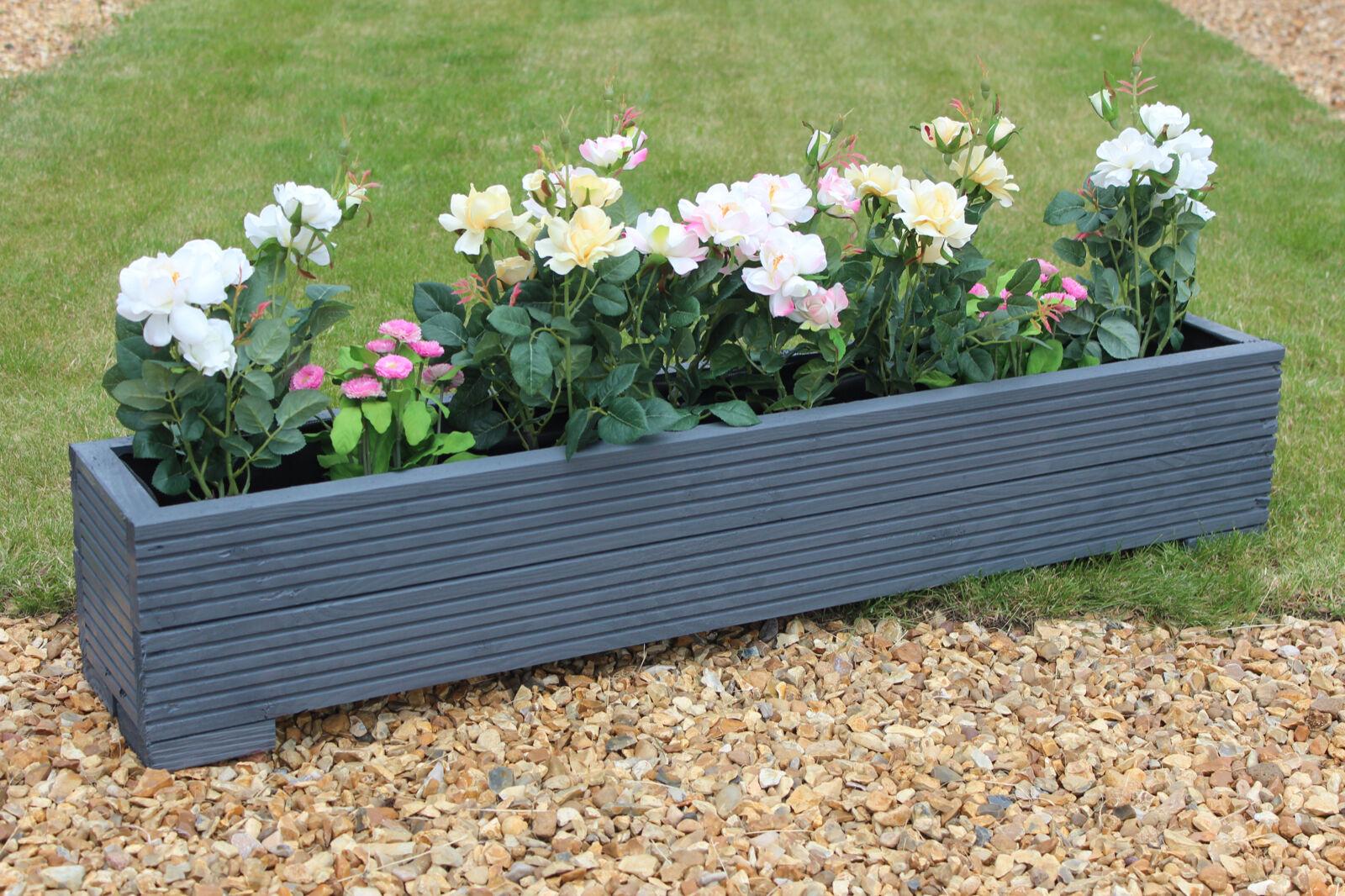 Grey 120x22x23 (cm) WOODEN GARDEN PLANTER TROUGH / PLANT POT