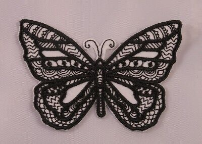 Embroidered Black Tattoo Pattern Tribal Wild B/&W Butterfly Patch Iron On Sew On
