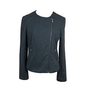 Catherine Malandrino Runway Style Women Moto Jacket Large Gray Pockets CFFP4300
