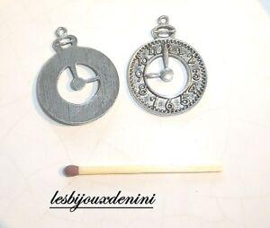 Breloques-10-Horloge-Pendule-Lot-fabrication-bijoux-scrapbooking-breloque-metal