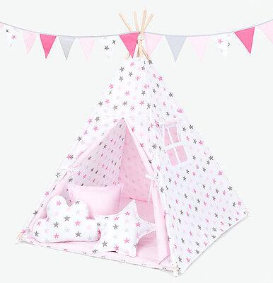 Geschickt Tipi Teepee Kinderzelt 150 Cm Wigwam 3 Kissen Bodenmatte Sterne Rosa Grau /rosa 100% Original Spielzeug Für Draußen Spielzeug