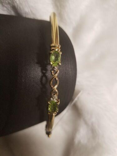 Nouveau $179 Break Authentique Peridot /& Diamant .925 Or Bracelet Jonc Accent