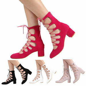 WOMENS-ZIP-UP-MID-BLOCK-HEEL-CUT-OUT-LADIES-LACE-UP-ANKLE-SANDAL-SHOES-SIZE-3-8