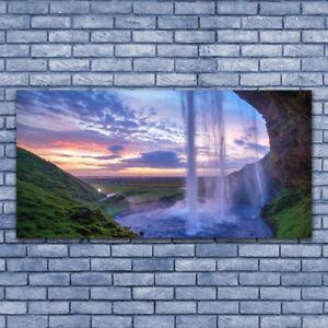 Glasbilder Wandbild Druck auf Glas 140x70 Wasserfall Landschaft