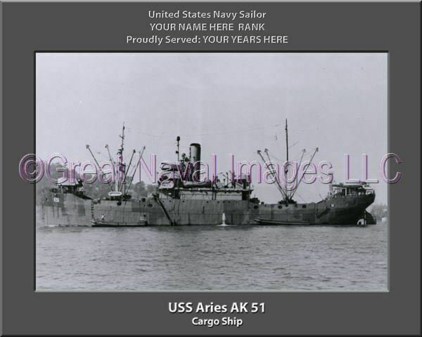 USS Aries AK 51 Personalized Canvas Ship Photo Print Navy Veteran Gift