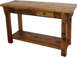 rustic barn wood furniture sofa table with shelf amish made in rh ebay com amish sofa table oak amish sofa server table