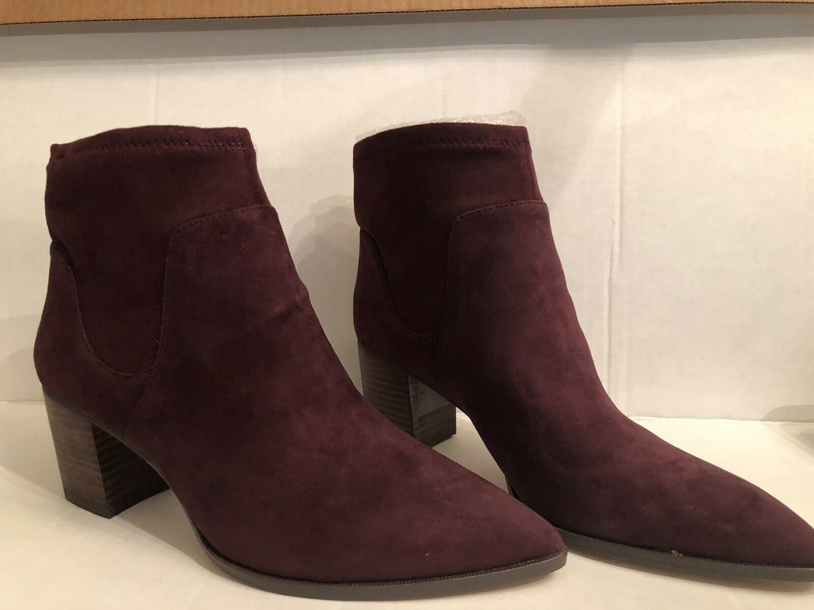 """Sole Society 8 1 2M Ankle Boots Bordeaux Suede 2"""" Heel NWT"""