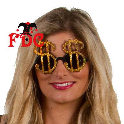Dinamico Dollar Dollaro Oro Occhiali Da Sole Occhiali Da Sole Costume Accessori-mostra Il Titolo Originale