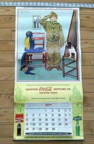 Vintage Boy Scout-Coca Cola Calendar-w//Norman Rockwell Graphic-1971-Rare