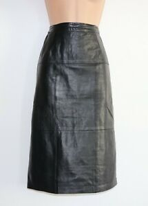 Women-039-s-Vintage-A-039-PARTENIA-High-Waist-Straight-Black-100-Leather-Skirt-W26-UK8