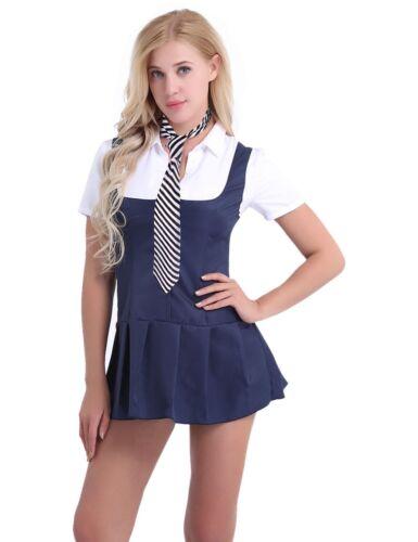 Women Schoolgirl Student Cosplay Costume Uniform Outfit Short Sleeve Shirt Dress
