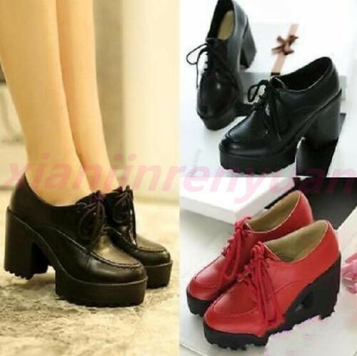 2020 Women Chunky Lolita High Block Heels Mary Janes Lace Up Platform Goth Shoes