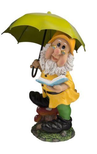 Gartenzwerg mit hellgrünem Schirm grün 38,5 cm Figuren für Haus und Garten