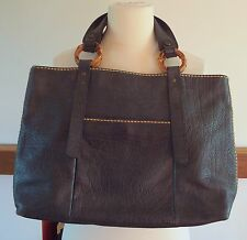 Plino Visiona navy blue leather reversible tote bag