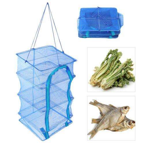 Portable Fish Drying Net Multi Layers Mesh Hanging Net Vegetables Dryer Racks US