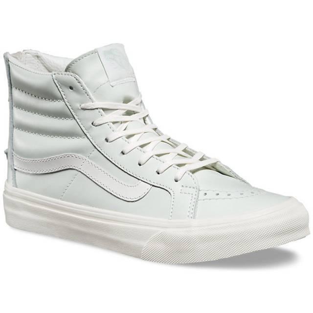 Vans Sk8 Hi Slim Fermeture Éclair Cuir Zephyr Bleu Blanc de Chaussures Hommes