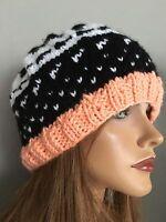 Hand Knit Beanie Slouch Fair-isle Designer Fashion Ski Snowboard Female Hip Chic