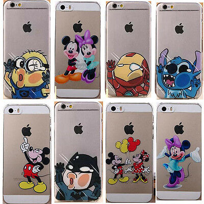Cute Cartoon Character Clear Back Case Cover Skin For iPhone4S 5 5S 5C 6/6S Plus