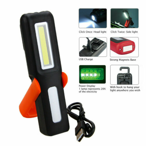3W USB Rechargeable Magnetic LED COB Inspection Lamp Work Flashlight Light Torch